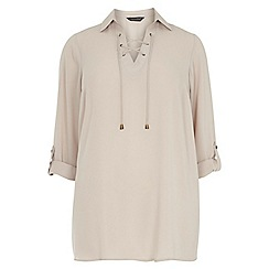 Dorothy Perkins - Dp curve stone long sleeve lace up top