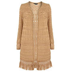 Dorothy Perkins - Dp curve camel long sleeve crochet cardigan