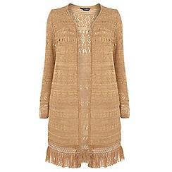 Dorothy Perkins - Dp curve camel long sleeve crochet cardigan