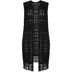 Dorothy Perkins - Dp curve black sleeveless crochet cardigan