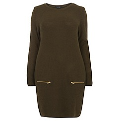 Dorothy Perkins - Dp curve khaki zip ribbed tunic