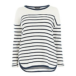 Dorothy Perkins - Dp curve ivory and navy scallop stripe jumper