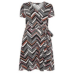 Dorothy Perkins - Dp curve black and pink chevron print wrap jersey dress