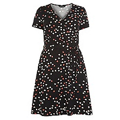 Dorothy Perkins - Dp curve black and red heart print wrap jersey dress