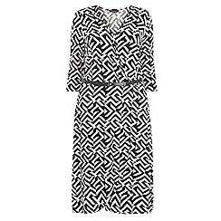 Dorothy Perkins - Dp curve monochrom geo print wrap jersey dress