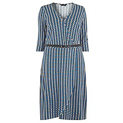 Dorothy Perkins - Dp curve blue deco print wrap jersey dress