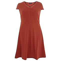 Dorothy Perkins - Dp curve rust pom pom trim fit and flare dress