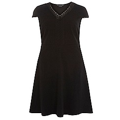 Dorothy Perkins - Dp curve black pom pom trim fit and flare dress