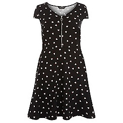 Dorothy Perkins - Dp curve black boat print fit and flare dress