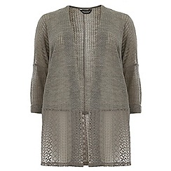 Dorothy Perkins - Dp curve grey contrast lace hem cardigan