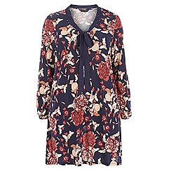 Dorothy Perkins - Dp curve navy floral print tie neck top
