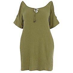 Dorothy Perkins - Dp curve khaki pom pom cold shoulder tunic