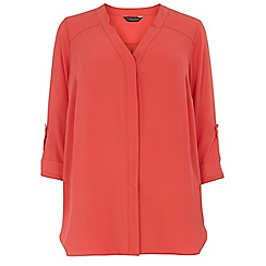 Dorothy Perkins - Dp curve coral notch neck rollsleeve blouse