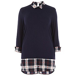 Dorothy Perkins - Dp curve navy and red check 2 in 1 shirt