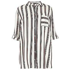 Dorothy Perkins - Dp curve burgundy stripe longline shirt