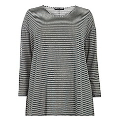 Dorothy Perkins - Dp curve grey/blue metallic stripe dip back t-shirt