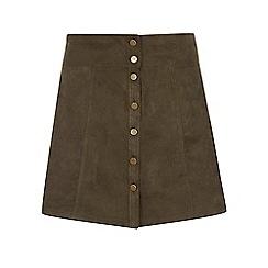 Dorothy Perkins - Dp curve khaki suedette button mini skirt