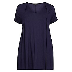 Dorothy Perkins - Dp curve navy pleat front t-shirt