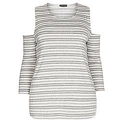 Dorothy Perkins - Dp curve ivory and grey stripe cold shoulder top