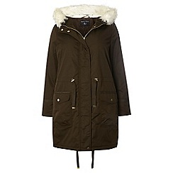 Dorothy Perkins - Dp curve khaki faux faux fur hooded parka jacket