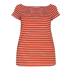 Dorothy Perkins - Dp curve orange and white stripe longline t-shirt