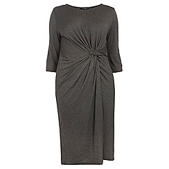 Dorothy Perkins - Dp curve grey marl knot front bodycon dress