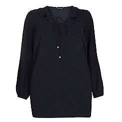 Dorothy Perkins - Dp curve navy ruffle collared