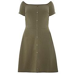 Dorothy Perkins - Dp curve khaki bardot fit and flare dress