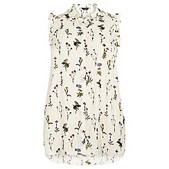 Dorothy Perkins - Dp curve ivory floral ruffle sleeveless shirt