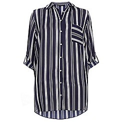 Dorothy Perkins - Dp curve navy and white stripe longline shirt