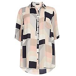 Dorothy Perkins - Dp curve geo multicolour longline shirt