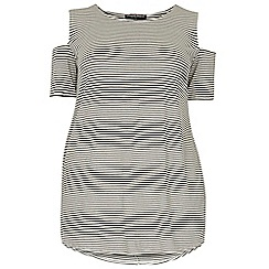 Dorothy Perkins - Dp curve black and white stripe cold shouldertop