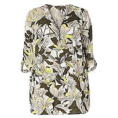 Dorothy Perkins - Dp curve khaki tropical zip front detailed blouse