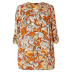 Dorothy Perkins - Dp curve coral tropical zip front detailed blouse