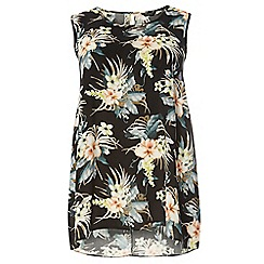 Dorothy Perkins - Dp curve black tropical print sleeveless camisole top