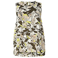 Dorothy Perkins - Dp curve khaki tropical sleeveless camisole top