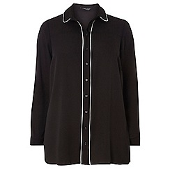 Dorothy Perkins - Dp curve black piped collared shirt