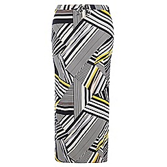 Dorothy Perkins - Dp curve yellow abstract toggle skirt