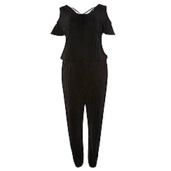 Dorothy Perkins - Dp curve black plisse cold shoulder jumpsuit