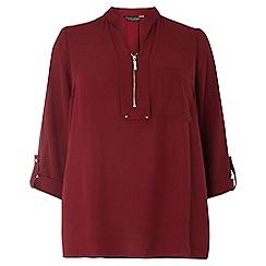 Dorothy Perkins - Dp curve berry notch neck zip shirt