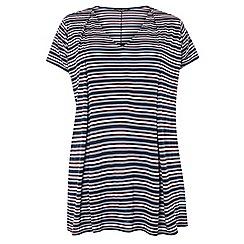 Dorothy Perkins - Dp curve berry stripe pleat t-shirt