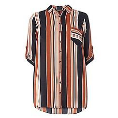 Dorothy Perkins - Dp curve rust stripe longline shirt