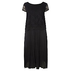 Dorothy Perkins - Dp curve black lace pleated midi dress