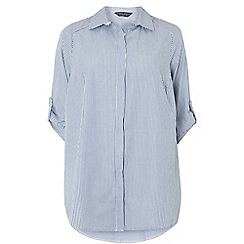 Dorothy Perkins - Dp curve blue and white striped collared shirt