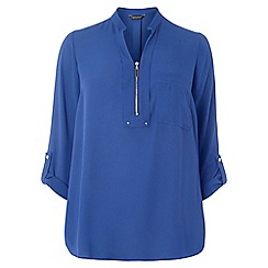 Dorothy Perkins - Dp curve cobalt zip notch neck top