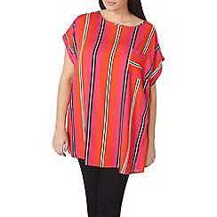 Dorothy Perkins - Curve red stripe zip back top