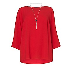 Dorothy Perkins - Dp curve red necklace trim soft top