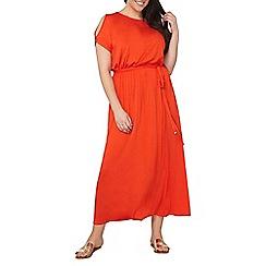 Dorothy Perkins - Curve red jersey cold shoulder maxi dress