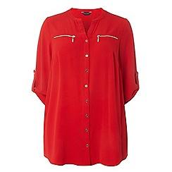 Dorothy Perkins - Red curve zip detail shirt