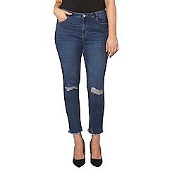 Dorothy Perkins - Curve midwash rip knee jeans
